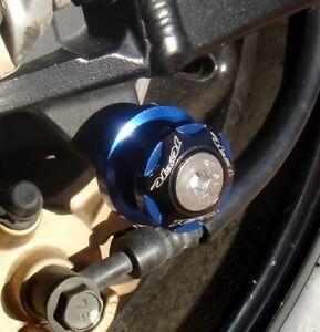 Blue 10mm Swingarm Spools - 250R 300 ZX6 ZX10 ZX12 ZX14 Z1000 Z750 650R RC8 DUKE