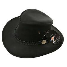 Talla XL Cuero Negro Nuevo Estilo Australiano Sombrero De Cowboy