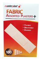 NEW Masterplast Fabric Plasters Pack Of 100 Assorted Durable Flexible First Aid
