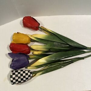 """Mackenzie Childs Lot of 5 Tulips 28"""" long Courtly Check, Red, Yellow, Purple"""