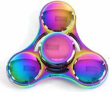 Fidget Spinner Stress Relief Long Spinning Metal Toy UFO Neo Chrome with Case