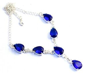 "Scenic Design Blue SapphireGemstone 925 Starling Silver Jewelry Necklaces S 18"""