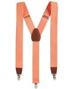 Club Room Mens Suspenders Coral Orange One Size Solid Stretch Accessory $39 #517