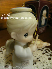 Precious Moments~Ornament~Dated 1989~522848~Girl Angel w Violin~Oh Holy Night~