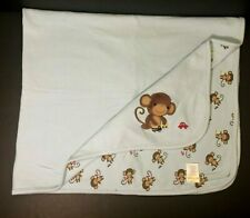 2013 Gymboree Monkey Baby Blanket Blue Cars Trucks Cotton Security Lovey HTF