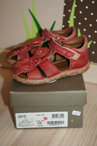 Bisgaard Sandalen 24 Mädchen Leder Schuhe Yuma red rot Blumen Sandaletten Sommer