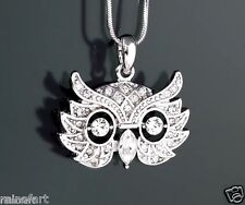 "Owl Made With Swarovski Crystal Wise Smart Pendant Mask 18"" chain Necklace"