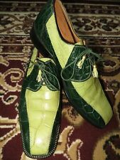 Rare Mauri Green Two Tone Alligator Crocodile Oxford Wingtip Formal Shoe 10 M
