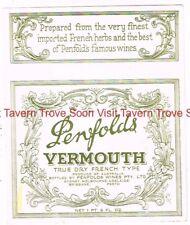 1940s AUSTRALIA PENFOLDS VERMOUTH Label