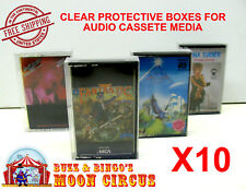 10x MUSIC CASSETTE TAPE - CLEAR PROTECTIVE BOX PROTECTOR SLEEVE CASE - ARCHIVAL