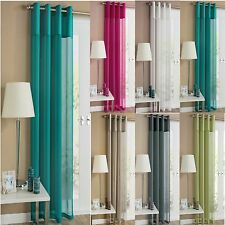 PLAIN VOILE NET CURTAIN PANEL EYELET RING TOP CURTAIN PANEL ALL SIZES & COLOURS