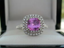 PINK SAPPHIRE & DIAMOND HALO RING. PLATINUM + SALE + MAKE YOUR BEST OFFER +