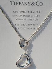 Tiffany & Co Elsa Peretti Open Heart Lariat Sterling Silver Necklace