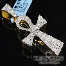 10K Yellow Gold Finish Egyptian Ankh Cross Genuine Diamond Charm Pendant 0.33ctw