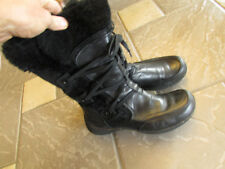 BARE TRAPS BLACK WINTER BOOTS WOMENS 8 STYLE ELOQUENT BLACK LEATHER FUR TRIM ZIP