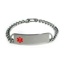 Medical Alert ID Bracelet D-style with Red enamel emblem. Free Emergency Card!