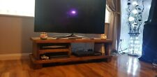 RUSTIC VINTAGE TV UNIT CHUNKY HANDMADE, SCAFFOLD BOARD ,WAXED,