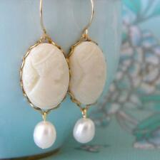 Vintage West German glass cameo freshwater pearl earrings