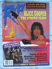 ALICE COOPER SIGNED RIP MAGAZINE OCTOBER 1991 DC/COA (RARE)