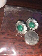 Navajo Native American 925 Silver Malachite Earrings By JB