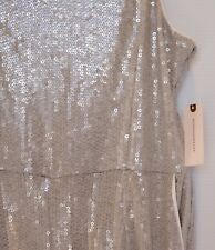 Anthropologie Sequin Gray Silver White Jumpsuit Wide Leg Women's Size 8 New