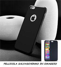 CUSTODIA BACK CASE COVER NERO GEL SILICONE APPLE IPHONE 6 6G 6S + PELLICOLA LCD