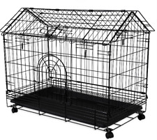 """Pet Bunny House Rabbit Cage Rolling 2 Door Easy Access 30"""" Metal Cage Safe New"""