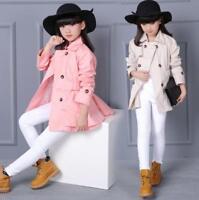 Kids Girls Windbreaker Outwear Belted Plain Button Jacket Trench Coat 4-12Years