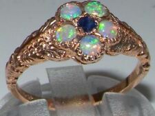 Luxury 9ct Rose Gold Ladies Sapphire & Fiery Opal Vintage Style Cluster Ring