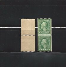 US STAMPS SC#486 LINE PAIR  1 CENT WASHINGTON GREEN M/NH SCV $12.75