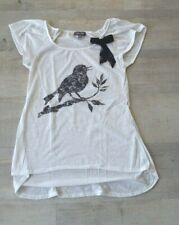Tee-shirt blanc motif oiseau noir pour femme 34/36