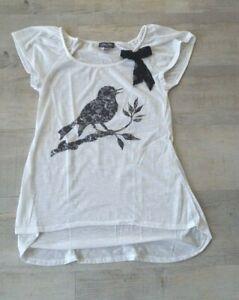 Tee-shirt blanc motif oiseau noir pour fille 12 ans