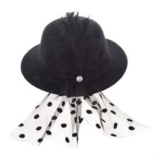 Mini Hat Mini Hat Hair Clip with Black Feather Hair Clips K2J8