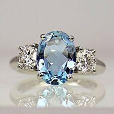 5Ct Oval Cut Aquamarine Simulant Diamond 3 Stone Ring White Gold Finish Silver