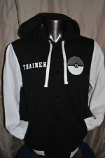 Mens Embroidered Pokemon Trainer League Champion Button-Up Hooded Jacket NWT XL