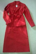 Vintage Style 30s 40s 50s Red faux moleskin / suede skirt suit lined tailored 10
