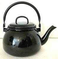 Munder-Email Germany Enamel Teapot & Lid Black 2 Quart Mid Century Style EUC