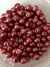 6mm Glass Faux Pearls - Rosy Brown (100 beads) jewellery making
