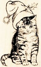 Christmas Kitten M271 Wood Mounted  Stampendous Rubber Stamp NEW  Free Shipping