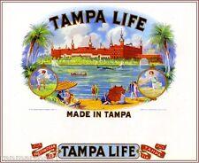 Tampa Florida Life Scenic Smoke Vintage Cigar Box Crate Inner Label Art Print
