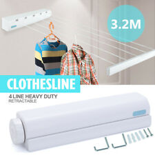 3.2m 4 Line Rope Retractable Clothesline Hooks Roll Up Clothes Hanging Dryer