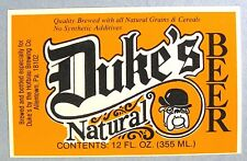 Dukes by Hofbrau Brewing Co DUKE'S NATURAL BEER label PA 12oz