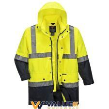 Lightweight Hi-vis Rain Jacket With Tape 9xl Yellow-navy Regular