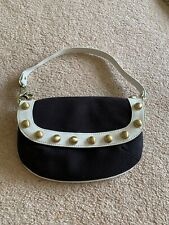 Ted Baker Black & Ivory Small Cotton Studded Hand Bag