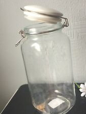 WILKO Clear Jar Pasta Container Clip Top Glass Storage Ceramic Lid /Rubber Seal