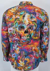 NEW Robert Graham $278 ART OF DARKNESS Embroidered Skull Floral Shirt 2XL