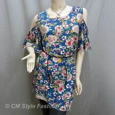 Bare Shoulder Flowery Flutter Sleeve Tunic Top Blue Background M