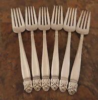 Holmes Edwards Danish Princess 6 Salad Forks Vintage Silverplate Flatware Lot D