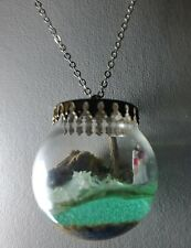 Unique glass pendant necklace, Jesus walking on water, original holidays gift