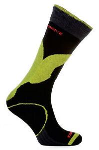 Winter Ski Siltex Socks Long Snowboard Warm Shaped Wool Antibacterial Lime Black